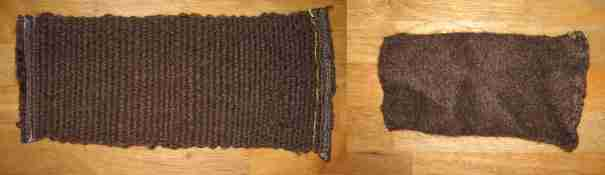 The wool fabric before and after felting.