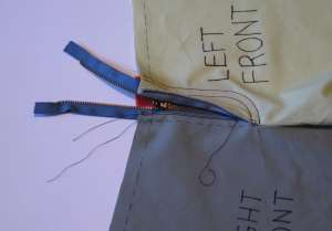 30 zipper shield stitched in place