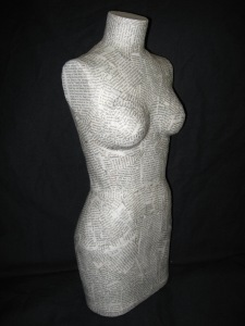 Paper mache half-scale dress form