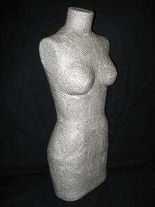 Paper mache half-scale dress form