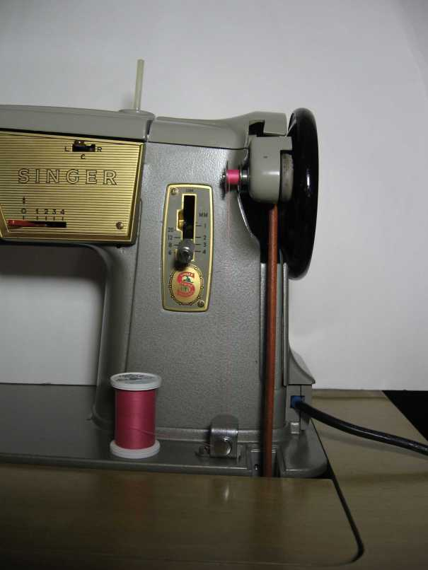 Singer 328k modified for treadling bobbin winder up