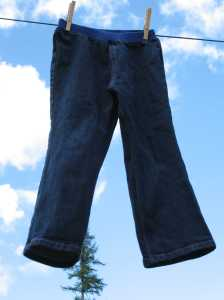Girls denim elastic waist pants