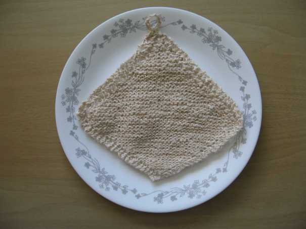 knitted linen dishcloth