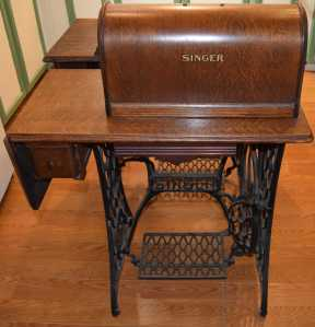 Singer drop-leaf dressmakers treadle stand