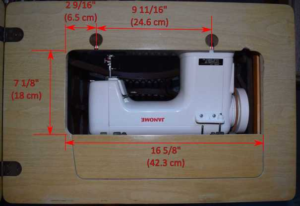 Janome 712T table top dimensions labeled